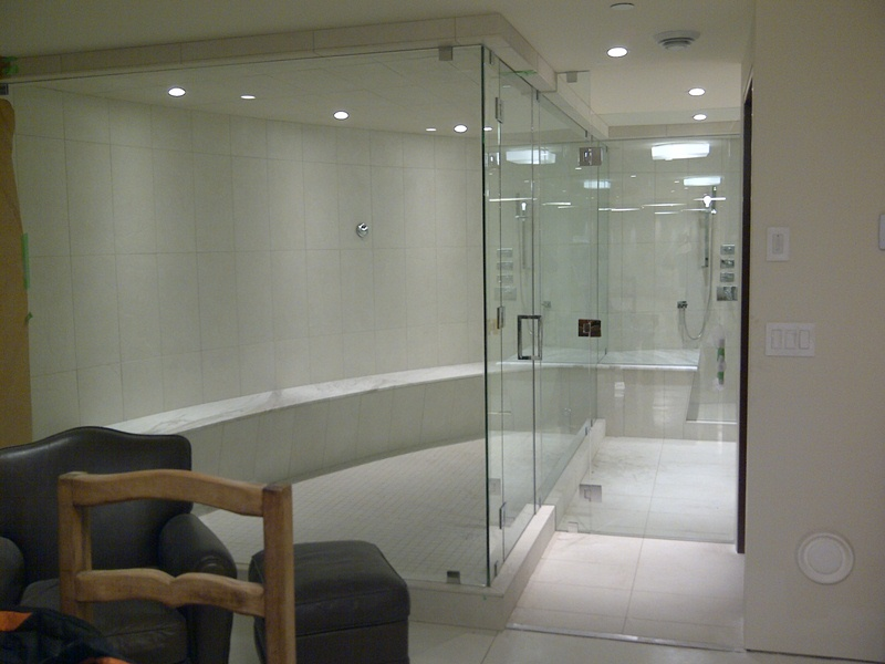 Installation Of An Extra Large Frameless Shower Glass Panels And