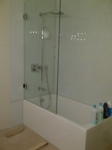 Shower Glass door.-Custom colored backsplash glass