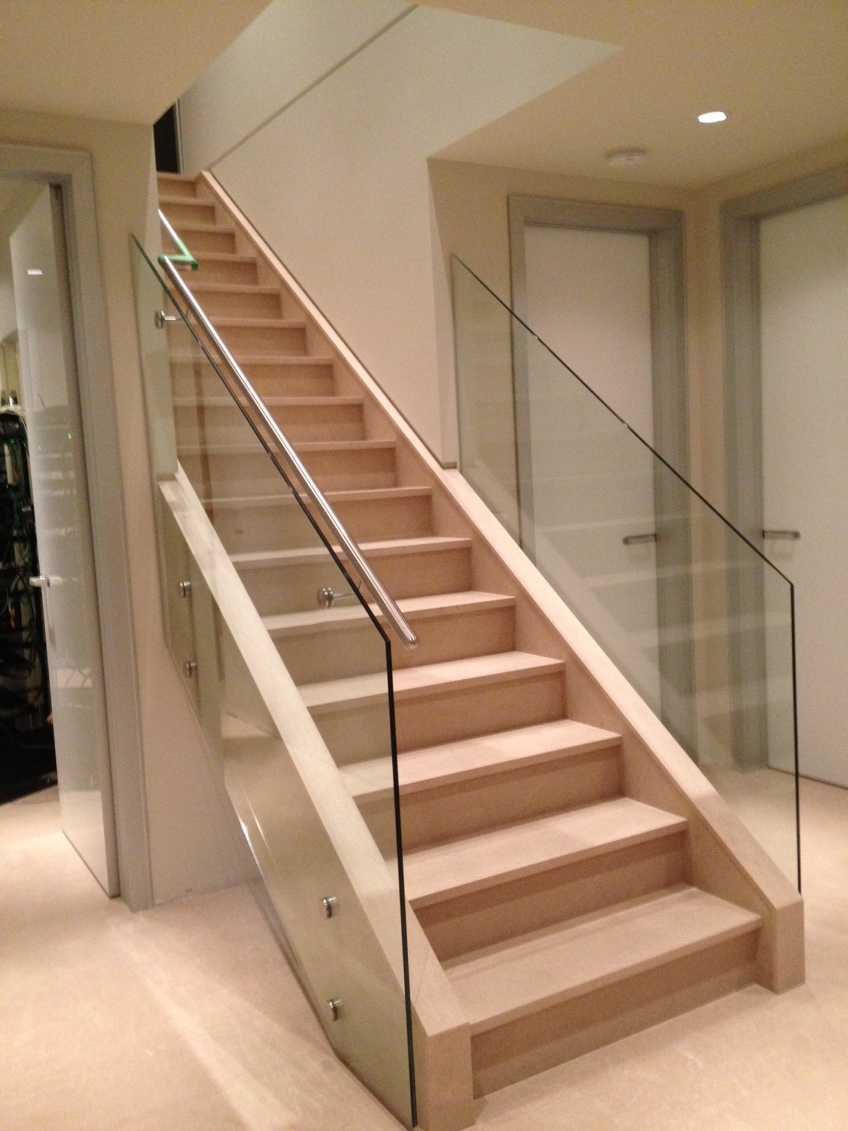 Interior stairs glass railing design balcony railing jpg for Inside balcony railing