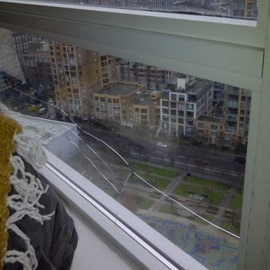 Glass repair for apartment window. The glass repair job requires new safety glass for a hi rise window. Insurance company paid for glass repair on window.