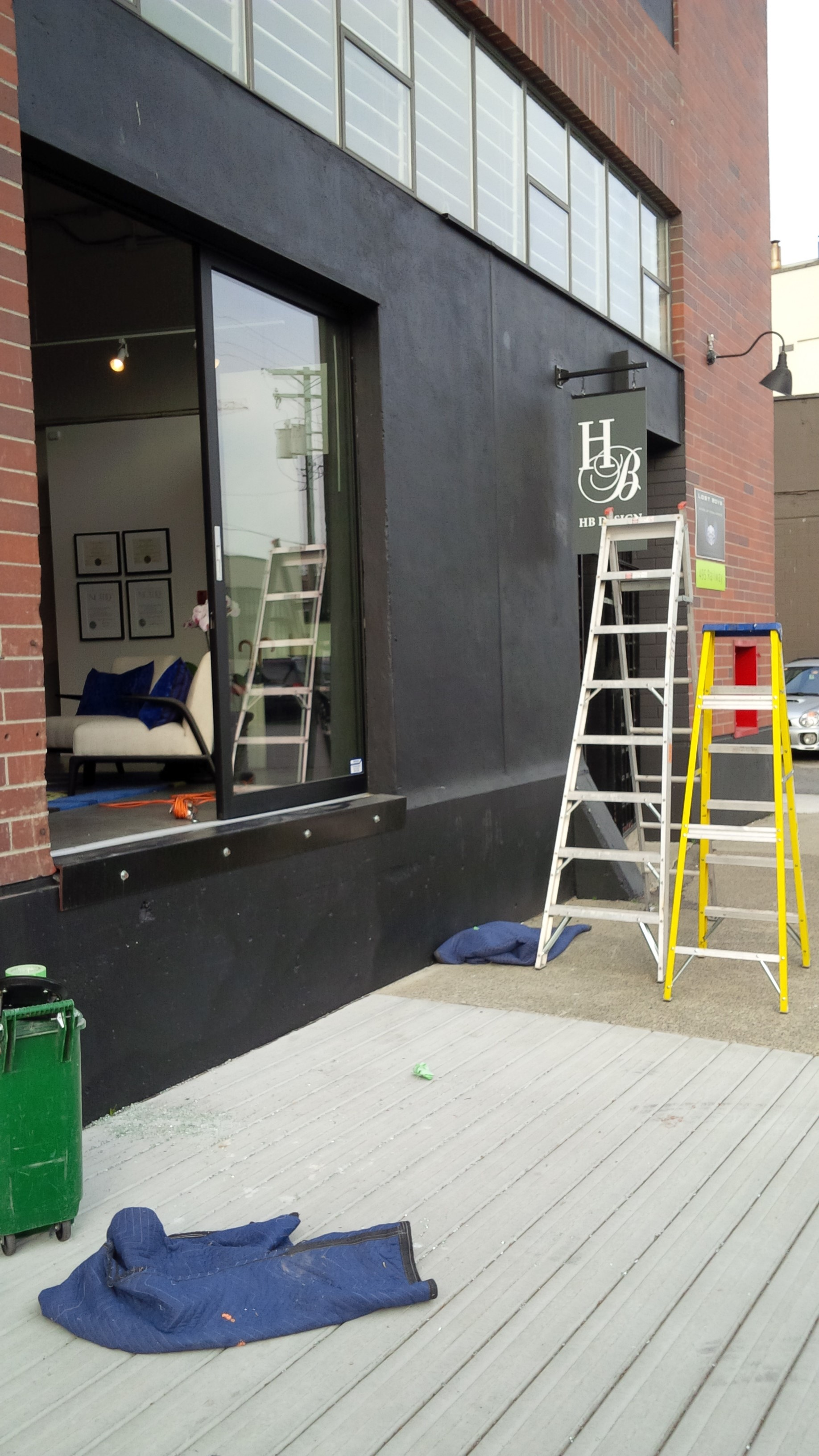 Commercial Sliding Glass Aluminum Door Replaced Broke Double Pane