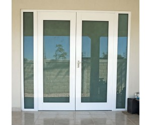 aluminum swinging door for residential home in downtown vancouver