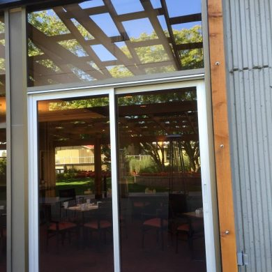 commercial aluminum sliding door for a restaurant patio in Vancouver