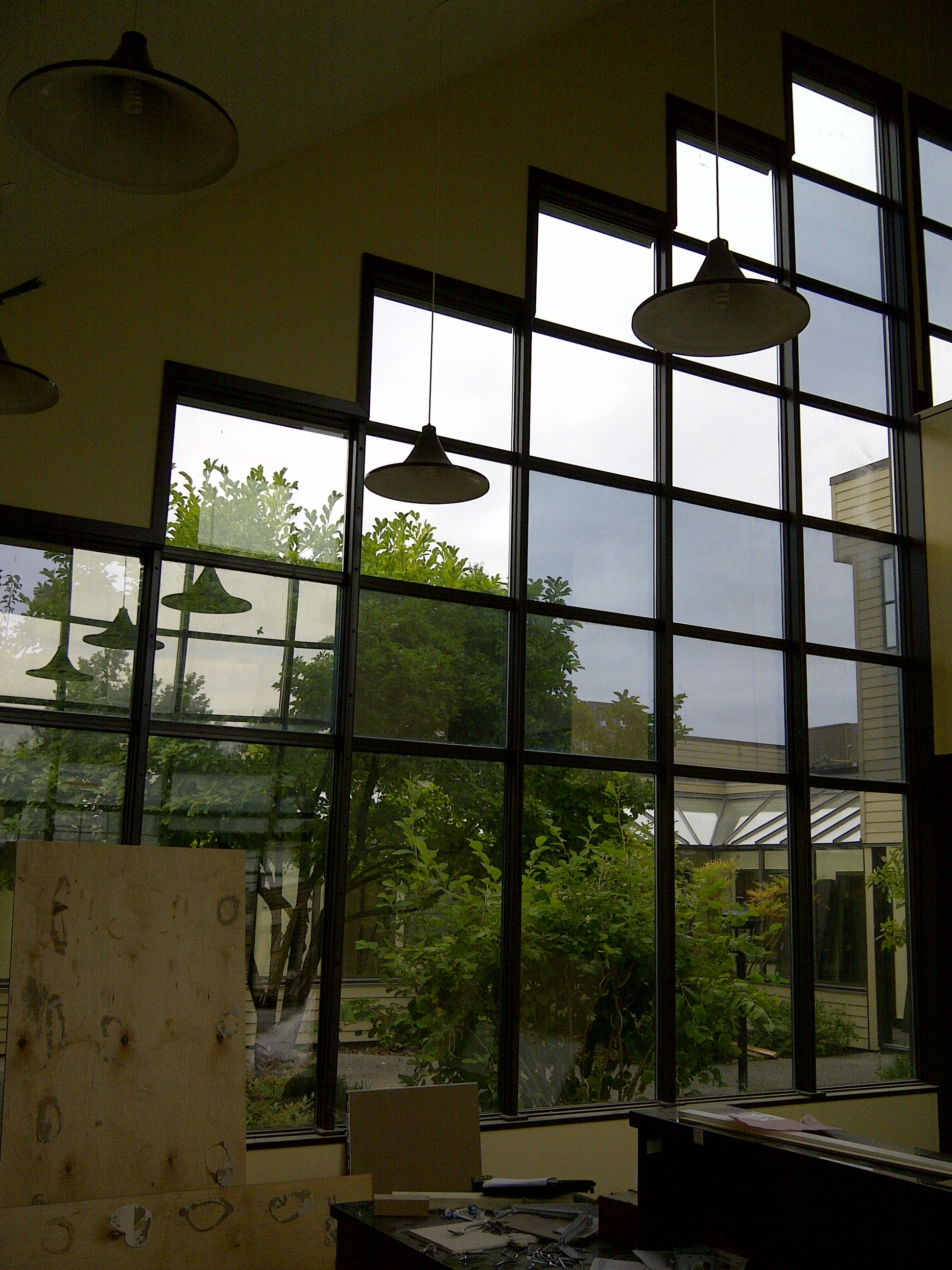 replaced commercial building foggy glass windows with brand new double paned glass windows